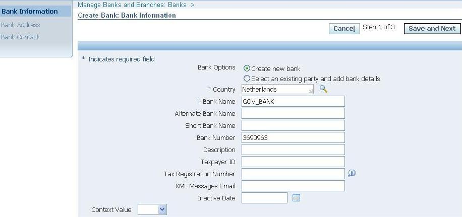 Oracle concepts for you bank setups in oracle apps click on create button under address tab if you want to add address detailsen click on save and next button 4 click on create contact button thecheapjerseys Gallery