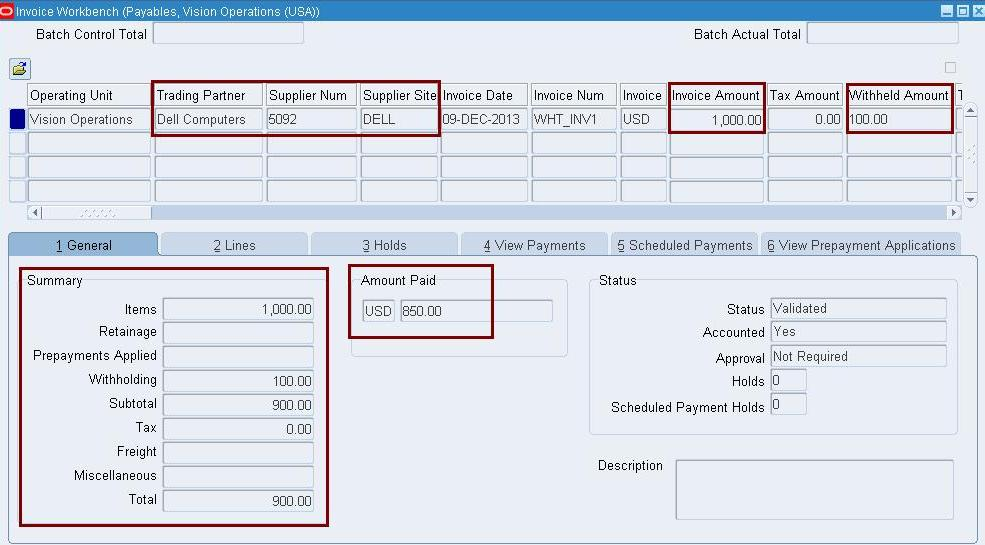 oracle concepts for you: withholding tax setup, Invoice templates